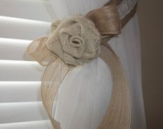 Burlap Curtain Tieback with burlap flower and lace  Set of 2
