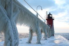 South Haven, Michigan - Photograph by Charlie Anderson. This was taken after the first winter storm in December. South Haven, Michigan. South Haven Michigan, Michigan Usa, Lake Michigan, Minnesota, Beau Site, Winter Wallpaper, Winter Storm, Winter Time, Summer Time