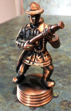 Vintage Brass Cast Firefighter Pencil Sharpener by LeftoverStuff