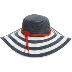 Betmar Striped Straw Sun Hat (€20) ❤ liked on Polyvore featuring accessories, hats, white navy, nautical hats, straw hat, navy blue straw hat, betmar and betmar hats