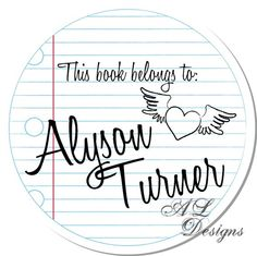 *** Book Plates: Personalized Stickers  Lined Paper  Personalized by Autumnleah, $5.50