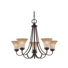 Chandelier with Amber Glass in Palladian Bronze Finish | ALZ5005PN | Destination Lighting