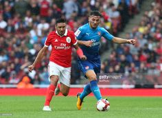 Eduardo Salvio of Sporty Lisboa e Benfica holds of Arsenal's Sead Kolasinac during Emirates Cup match between RB Arsenal against Benfica at Emirates Stadium on 29 July 2017