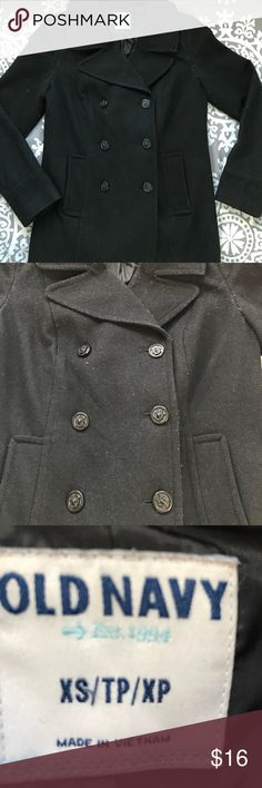 Pea Coat Women's Pea Coat. Black, size XS Button closure. Linty from scarves and storage but great condition. Great price allows you to take to dry cleaner. Old Navy Jackets & Coats Pea Coats