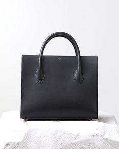 Minimal + Classic: celine - boxy handbag black natural calfskin