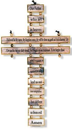 This Cross has the Our Father Prayer on it. Made of Olive Wood from Bethlehem. Wooden Cross Crafts, Wooden Crosses, Crosses Decor, Wall Crosses, Wood Crafts, Cross Wall Art, Cross Wall Decor, Woodworking Projects Diy, Wood Projects