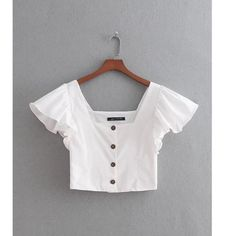 women fashion cascading ruffles breasted buttons linen blouse elegant – rricdress Source by rricdress blouse Crop Top And Shorts, Crop Top Outfits, Cute Casual Outfits, Girl Outfits, Fashion Outfits, Womens Fashion, Fashion Trends, Blouse En Lin, Crop Blouse