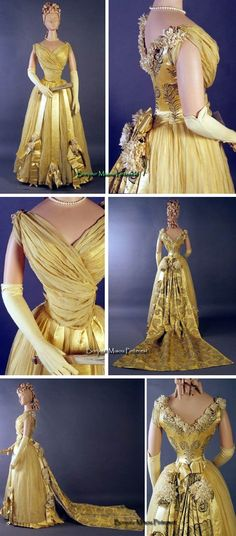 Evening dress, Laferrière, ca. 1892. Yellow silk chiffon over yellow silk satin on front bodice and skirt, yellow silk satin back bodice and train embroidered with silver feathers in graduating sizes. Chiffon skirt with vertical yellow satin ribbons with bows below knee and trimmed with white silk flowers, as at shoulder and around back neckline. Kent State Univ. Museum