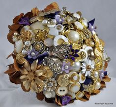 Custom Jeweled Flower and Button Bouquet by Blue Petyl:)  #wedding #bouquet