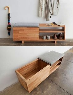 Modern Home Decor home organization - using a bench for sitting AND for storing shoes!Modern Home Decor home organization - using a bench for sitting AND for storing shoes! Woodworking Box, Woodworking Furniture, Woodworking Projects, Woodworking Workshop, Woodworking Quotes, Woodworking Patterns, Diy Projects, Woodworking Basics, Popular Woodworking