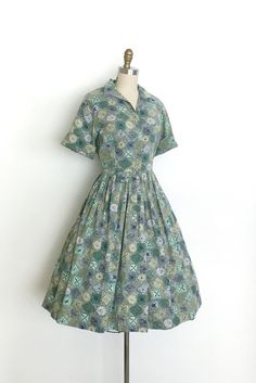 vintage 1950s dress 50s doodle print shirt dress