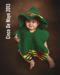 Baby Sombrero and Poncho Photo Prop  Newborn to 6 by pixieharmony, $63.95