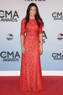 rachel smith half sleeves a line long red hollow lace celebrity dress
