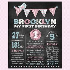 Sweet Birdie Chalkboard Birthday Poster from alittlehopedesigns