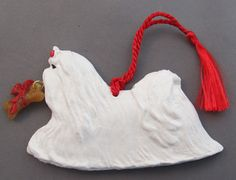 Maltese Dog Breed Christmas Ornament Sculpture at For Love of a Dog.  Handmade in the USA
