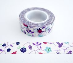 Single roll of washi masking tape with berry pattern - raspberries, blueberries, strawberries. Great for travel journals, scrapbooking, gift wrapping, decorating cards and envelopes and more! Add a li