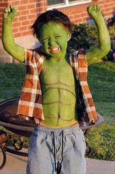 Green Hulk fancy dress halloween costume idea for kids
