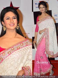 3ca7573765 Divyanka Tripathi White Georgette Designer Saree with Off White Color  Brasso Blouse.It contained the work of Zari, resham embroidery with Lace  border.
