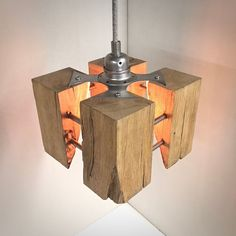 Unique, Hand crafted oak steel and aluminium gild Edison pendant lamp with vintage fabric cable. From Made by Greig Sternenlicht Cube Rustikal. Kitchen Lighting Over Table, Rustic Kitchen Lighting, Rustic Pendant Lighting, Rustic Light Fixtures, Dining Lighting, Vintage Lighting, House Lighting, Wooden Lamp, Lamp Design