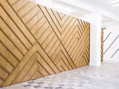 Gorgeous timber wall - like the geometric pattern