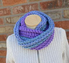 Purple Infinity Scarf Chunky Cowl Scarf  Womens Scarves Winter Scarf Fall Fashion Crochet Scarf Autumn Infinity Scarves by Forever Andrea by foreverandrea on Etsy