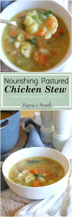 Nourishing Pastured Chicken Stew - Lightly creamy and fully flavorful, this chicken stew is gluten free, grain free, and whole 30. via @preparenourish