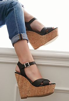 Strappy Cork-Sole Platform Wedges | Forever 21 | #stepitup