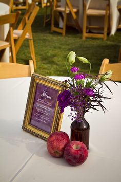 framed menu and metalic painted pumpkins and apples