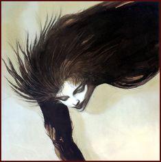 Девушка с распущенными волосами  Ёситака Амано Yoshitaka Amano