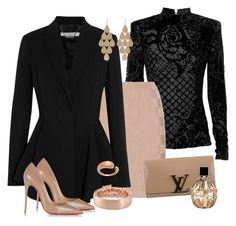"""""""Untitled #121"""" by zako14 on Polyvore featuring Balmain, Givenchy, Christian Louboutin, Louis Vuitton, Irene Neuwirth, Faraone Mennella by R.F.M.A.S., Roberto Coin, Jimmy Choo, women's clothing and women"""