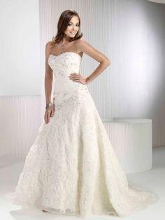 A-Linie Herzform Hof Organza Hochzeitskleid mit Perlen