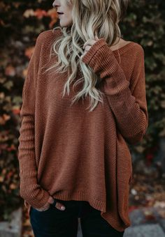 4150dbaa01 Stylish Oversize Casual Solid Color Sweater fall fashion outfits style  Herbst Winter