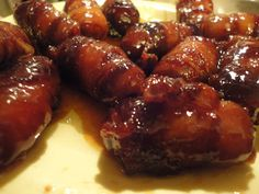 super yummy and easy appetizer! sausage, bacon and brown sugar - that's it!