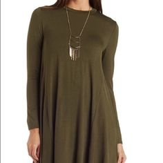 Taupe long sleeve trapeze shift dress Taupe long sleeve trapeze long sleeve dress. This dress isn't green, it's taupe! Size small. Brand new, never worn. Charlotte Russe Dresses