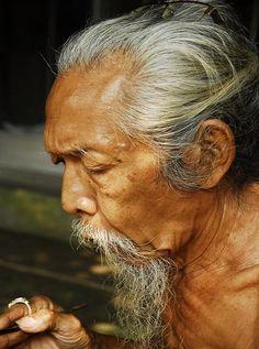 elderly gentle man in Bali, Indonesia
