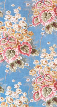 Begonias & Cabbage Roses. A Russian textile from the early 1900s.