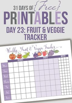 Welcome to Day 23 of the 31 days of free printables! Today's printable is a request from Brigette. She would like a printable that allows her to keep track of her daily intake of fruits and vegetab. Printable Labels, Printable Planner, Free Printables, Fitness Binder, Tracker Free, Organization Lists, Home Binder, Mini Binder, Home Management Binder