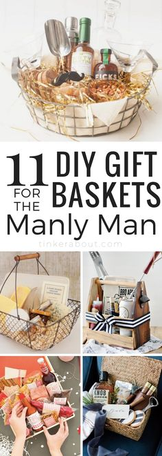11 Best Gift Basket Ideas For Him ⎜Creating a gift basket for him can be a difficult task. This post will give you some inspiration on how to curate great gift baskets for men! Gift Basket Ideas for Men ⎜Gift Baskets for Boyfriends ⎜Gift baskets for Father's Day ⎜Anniversary Gift Basket Ideas