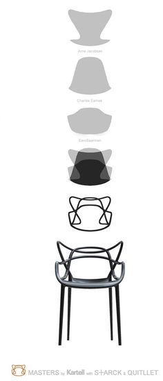 Masters Chair (inspired in the shapes of famous chairs by Arne Jacobsen, Charles Earnes and Eero Saarinen). By Philippe Starck, 2009.