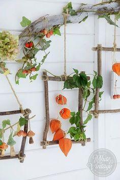 PIMP JE MUUR MET HANG DECORATIE ! Nodig * lampionnetjes - klimop takjes - hortensia - ( sier )bessen - takken - hobby touw * gedeeld door marjolein 131. Foto geplaatst door marjolein131 op Welke.nl Rope Shelves, Plant Shelves, Hanging Shelves, Wooden Shelves, Fall Home Decor, Autumn Home, Diy Home Decor, Fall Crafts, Crafts For Kids