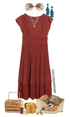 Plus Size Midi Dress Outfit Ideas with Summer Dresses Styled with Cheetah Sandals, Statement Earrings, and Rattan Clutch - Alexa Webb Khaki Shorts Outfit, Midi Dress Outfit, Blue Midi Dress, The Dress, Dress Outfits, Casual Outfits, Fashion Dresses, Navy Dress, Casual Dresses