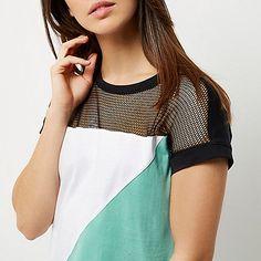 Green block mesh T-shirt