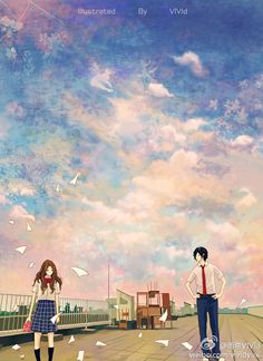 You think it's these possessions and words that keep us apart. But in truth, it's just the sky you paint between us. Couple Illustration, Landscape Illustration, Illustration Art, Art Anime, Anime Kunst, Wattpad Book Covers, Anime Scenery, Kawaii, Fantasy Landscape