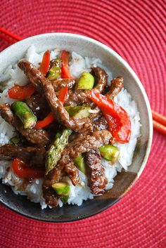 beef + asparagus stir fry.