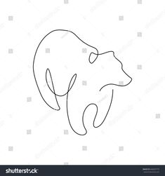 One line design silhouette of bear.hand drawn minimalism style.vector illustration