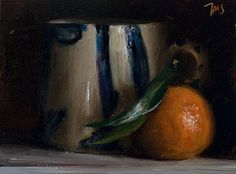 daily painting titled Clementine and cup - Julian Merrow-Smith, postcards from Provence