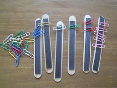 """busy bags"" I absolutely loved this one. These are jumbo craft sticks with magnet strips glued on. Then get some jumbo colored paper clips. They can sort colors or make any kinds of patterns with the paper clips. Math Classroom, Kindergarten Math, Fun Math, Classroom Activities, Teaching Math, Preschool Activities, Teaching Tools, Teaching Ideas, Math Work"
