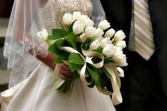 A collection of beautiful wedding bouquets from Your Wedding Company. Our picture gallery and color ideas will help you choose the perfect wedding bouquet. Tulip Wedding, Spring Wedding Flowers, Bridal Flowers, Flower Bouquet Wedding, Tulip Bridal Bouquet, Bouquet Flowers, Spring Bouquet, Spring Weddings, White Tulip Bouquet