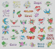 free cross stitch tattoo style patterns - Google Search