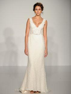 Maggie Sottero structured lace v-neck sheath wedding dress